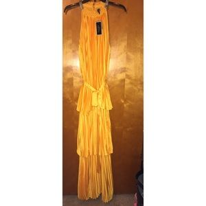Juicy Couture Sunlit Pleated Halter Maxi Dress